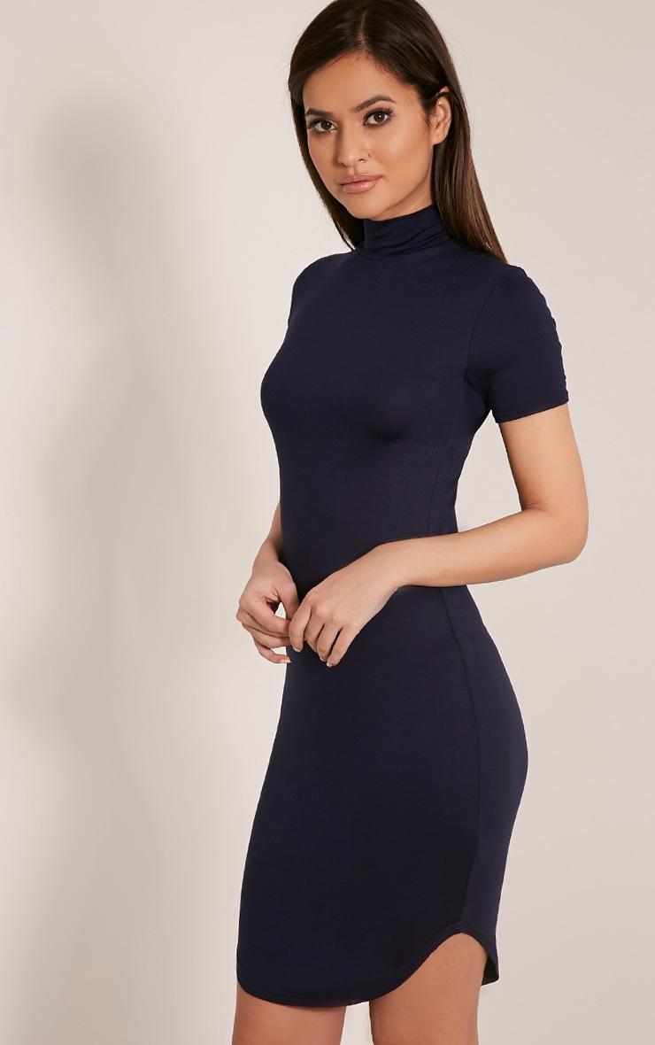 Alby robe à col montant et ourlet arrondi à manches courtes bleu marine 5