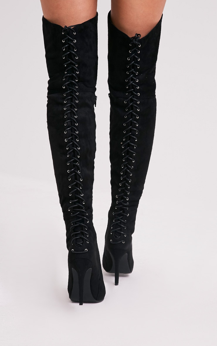 Carlie Black Lace Up Back Over The Knee Heeled Boots 2