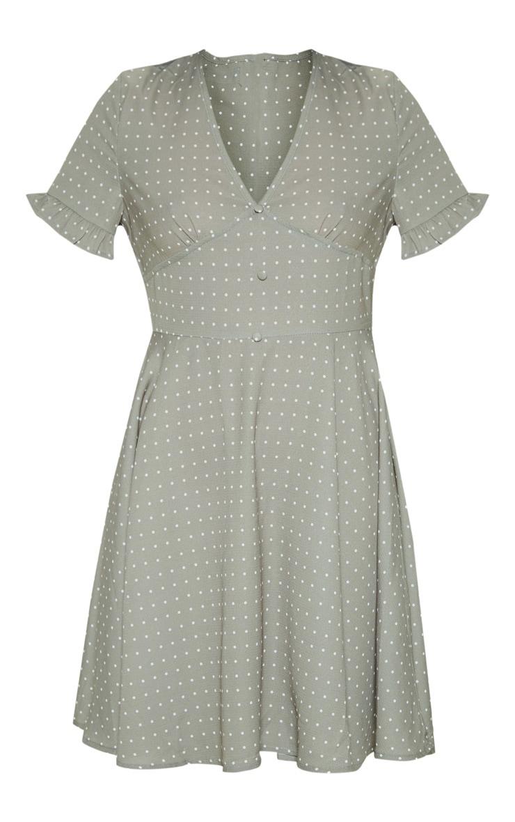 Sage Green Crinkle Polka Dot Button Tea Dress 3
