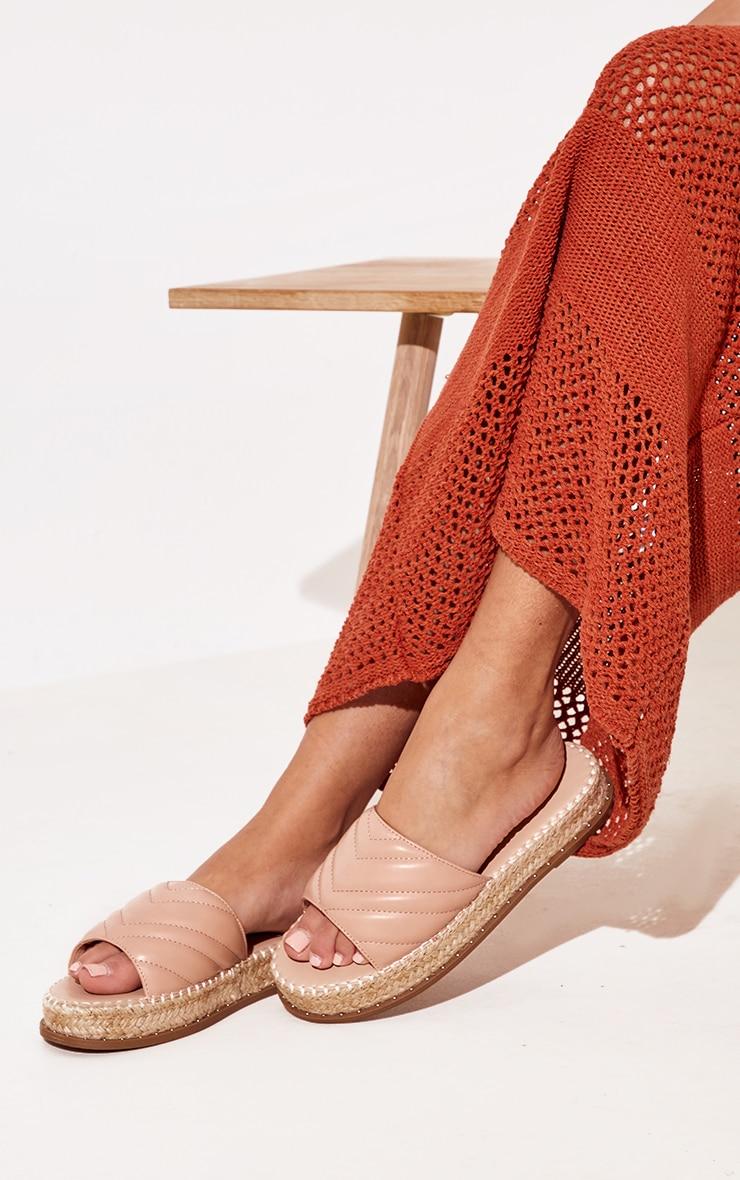 Nude Quilted Mule Flatform Espadrille Sandals 1