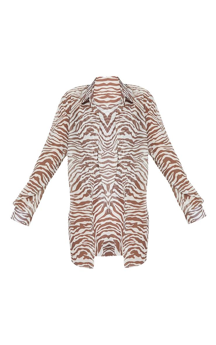 Brown Zebra Oversized Beach Shirt 5