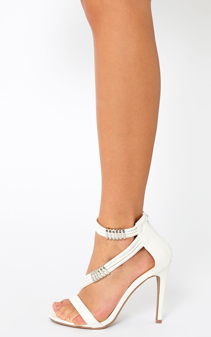 Riley White Cross Strap Heeled Sandals 2