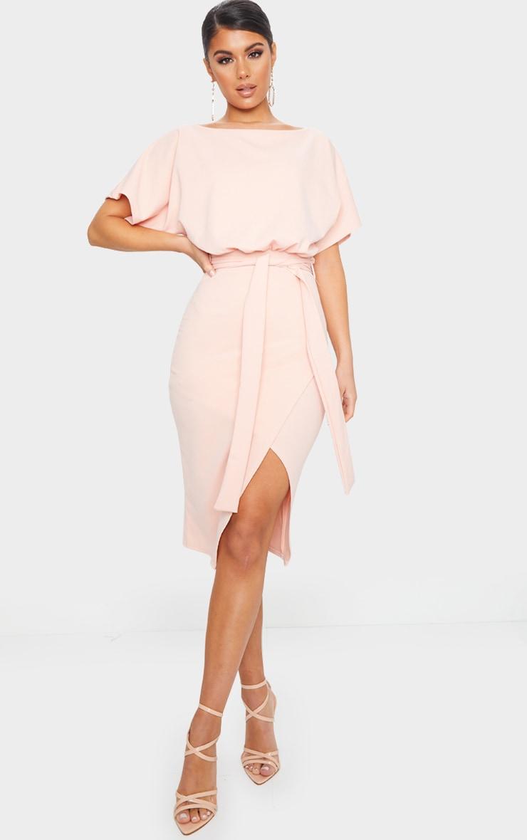 Nude Wrap Front Kimono Sleeve Midi Dress 1