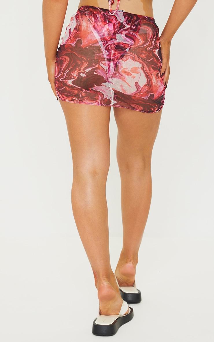 Purple Print Mesh Ruched Side Beach Skirt 3