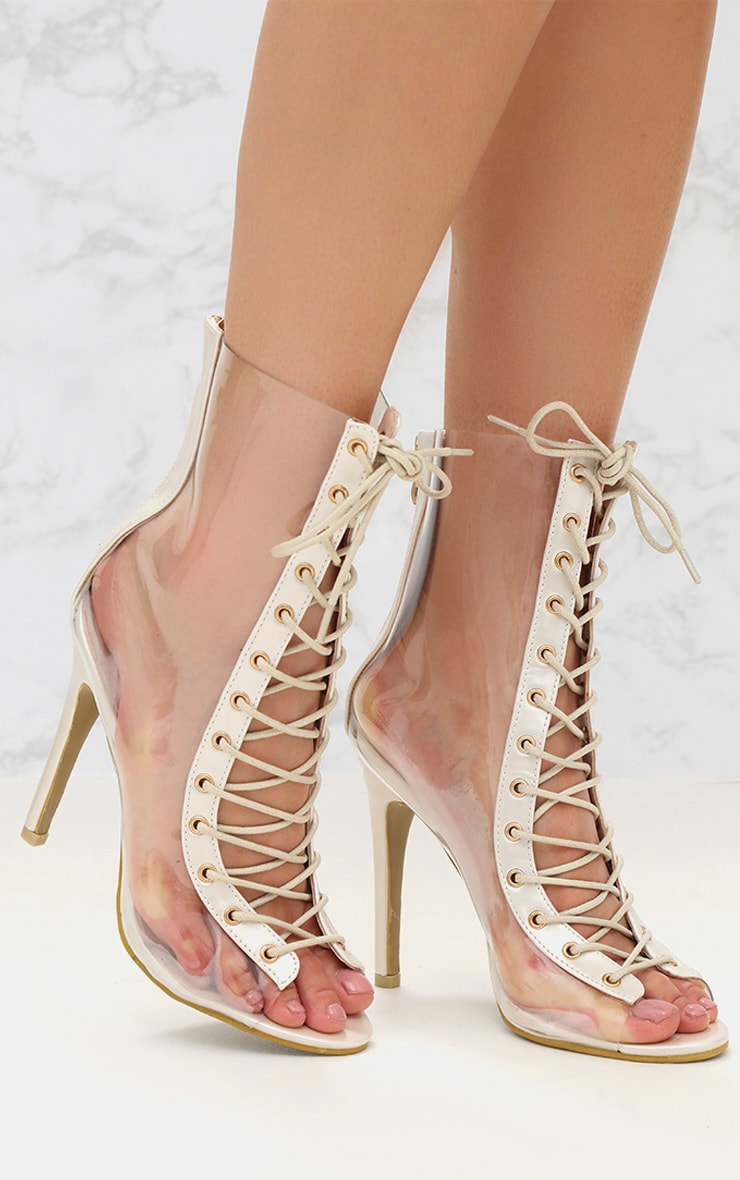White Lace Up Clear Ankle Boot 1