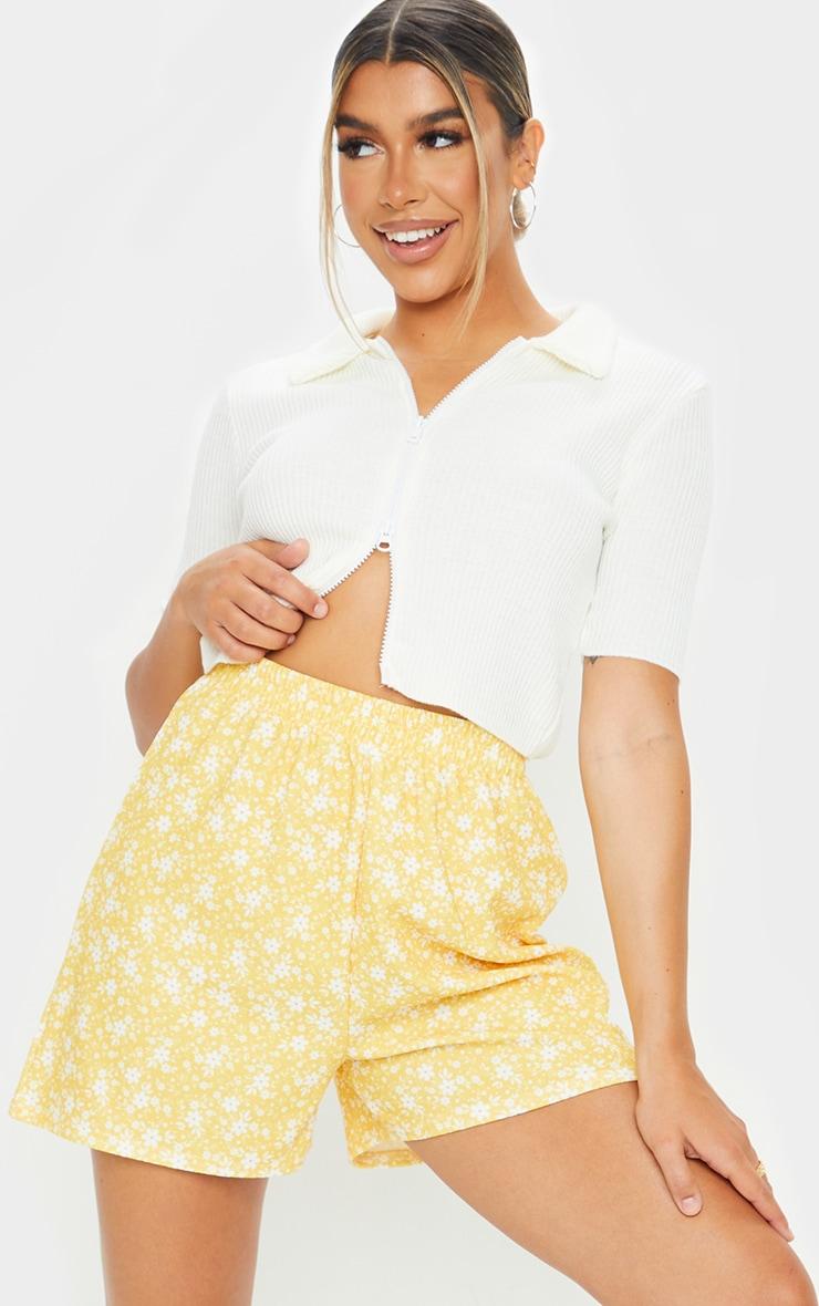 Yellow Oversized Floaty Shorts 1