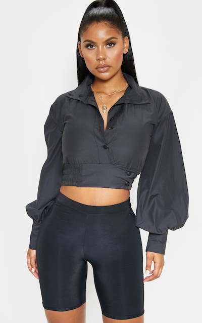 412b1b339df Black Button Front High Neck Woven Long Sleeve Top