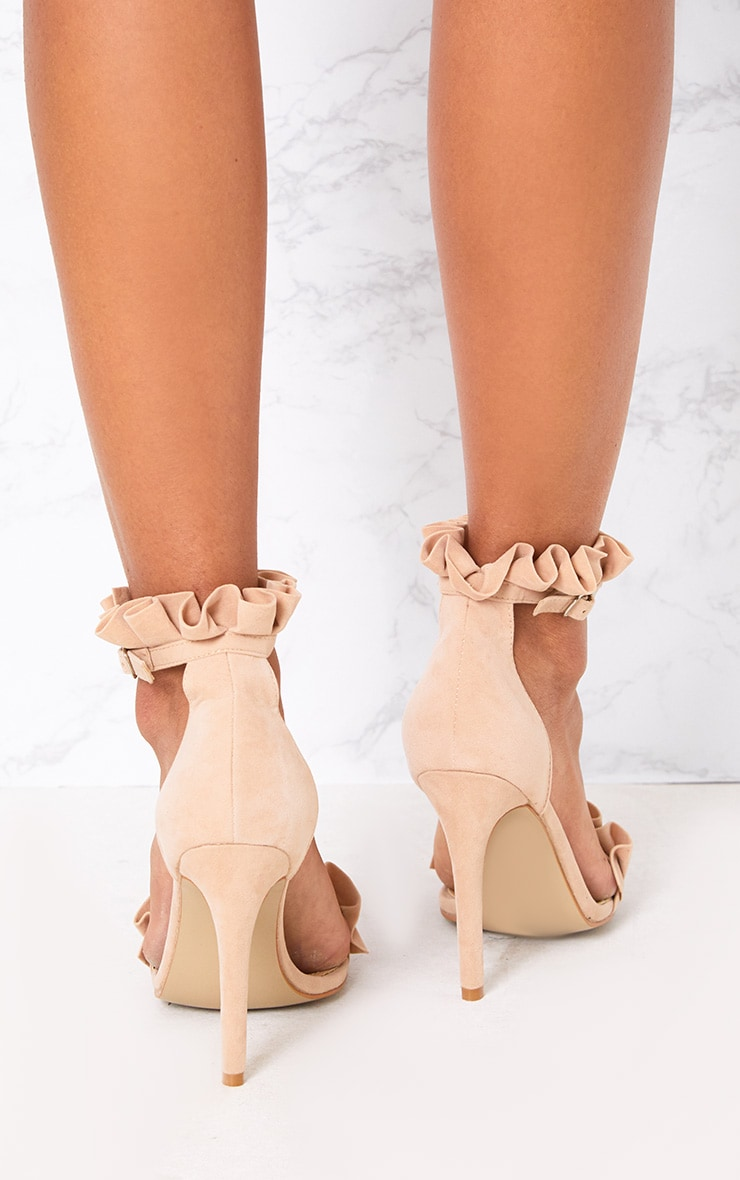 Nude Frill Strap Heels 3