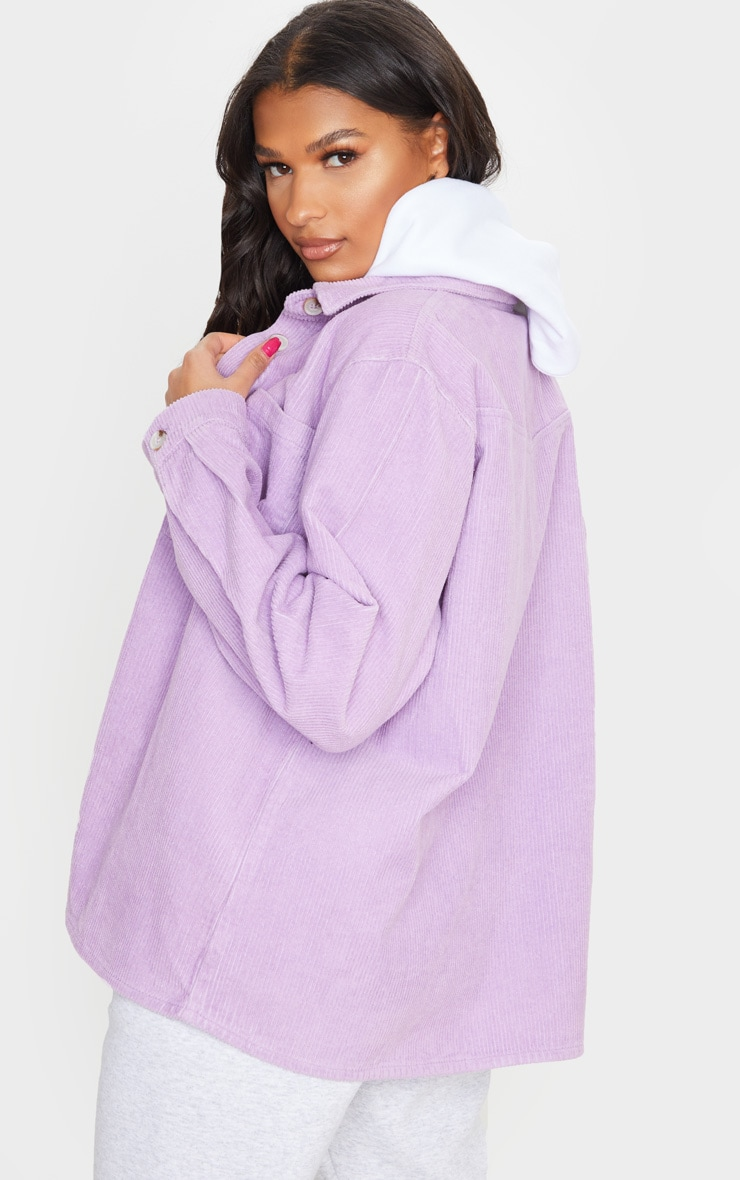 Lilac Jumbo Cord Long Sleeve Denim Shirt 2