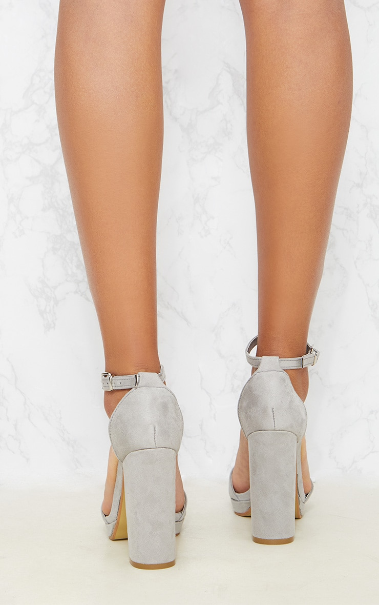 Grey Faux Suede Platform Sandals 3