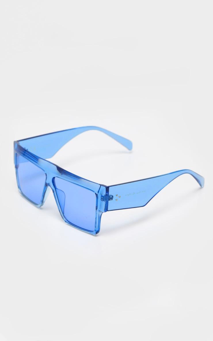 Blue Transparent Frame Flat Top Oversized Sunglasses 3