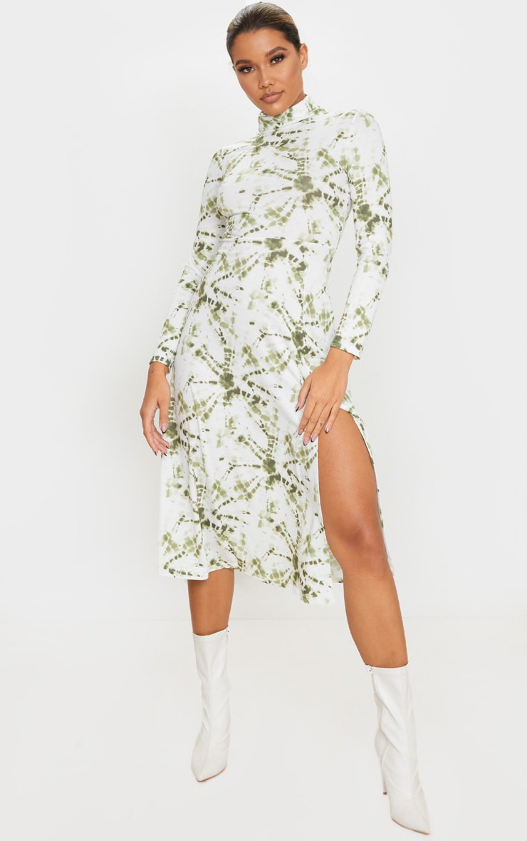 Khaki Tie Dye Print Midi Dress 1