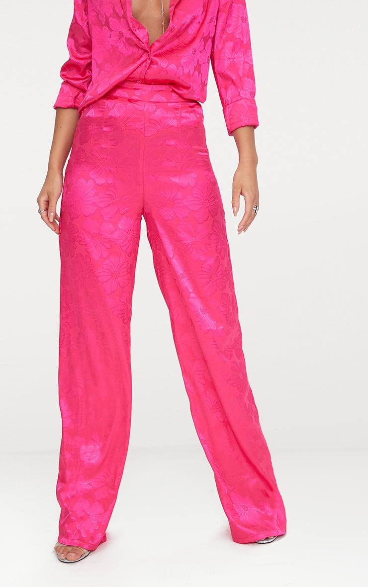 Hot Pink Jacquard Satin Wide Leg Trousers  3