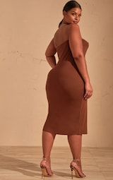 40848fb4fba Plus Chocolate Brown Bandeau Split Front Midi Dress image 2