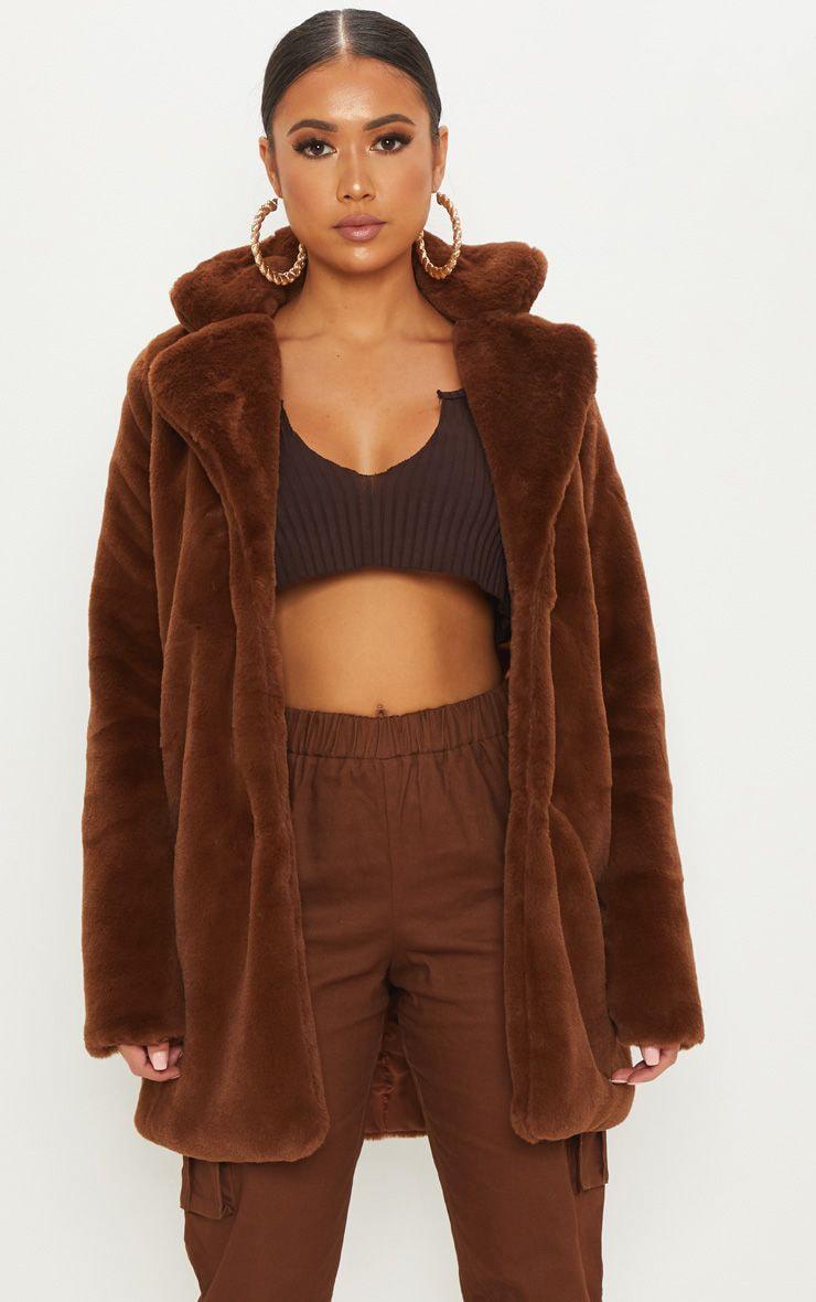 Petite Chocolate Brown Faux Fur Coat 1