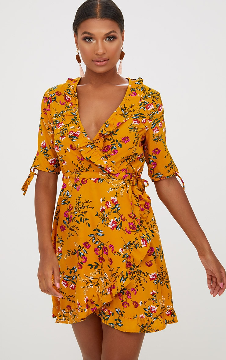 Mustard Floral Frill Wrap Dress 1
