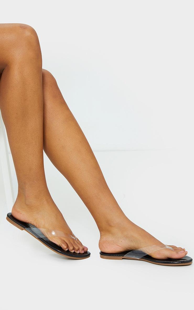 Black Clear Toe Post Sandal 1