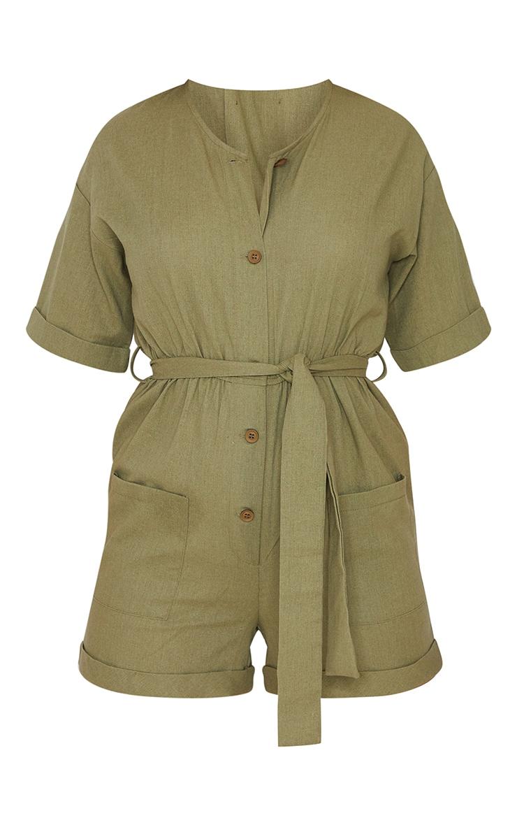 Khaki Linen Look Short Sleeve V Neck Shirt Playsuit 5