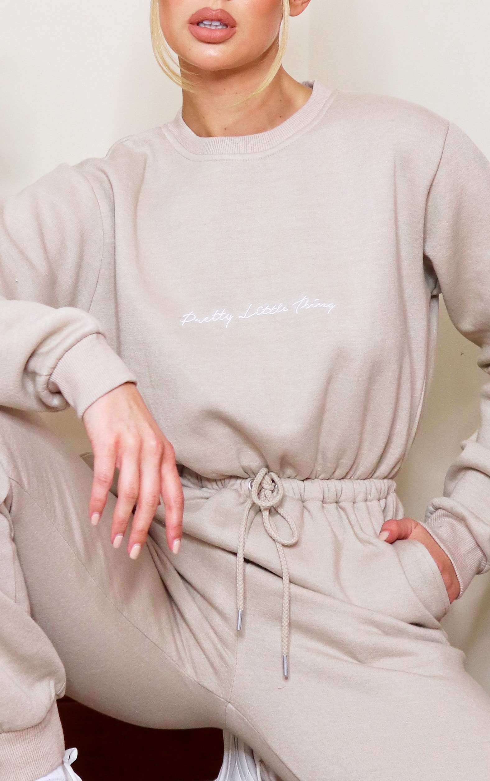 PRETTYLITTLETHING Stone Embroidered Sweat Jumpsuit 4