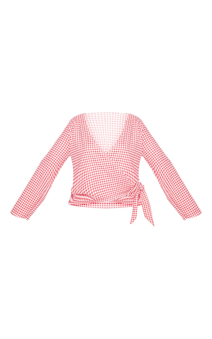 Plus Red Gingham Wrap Top 3