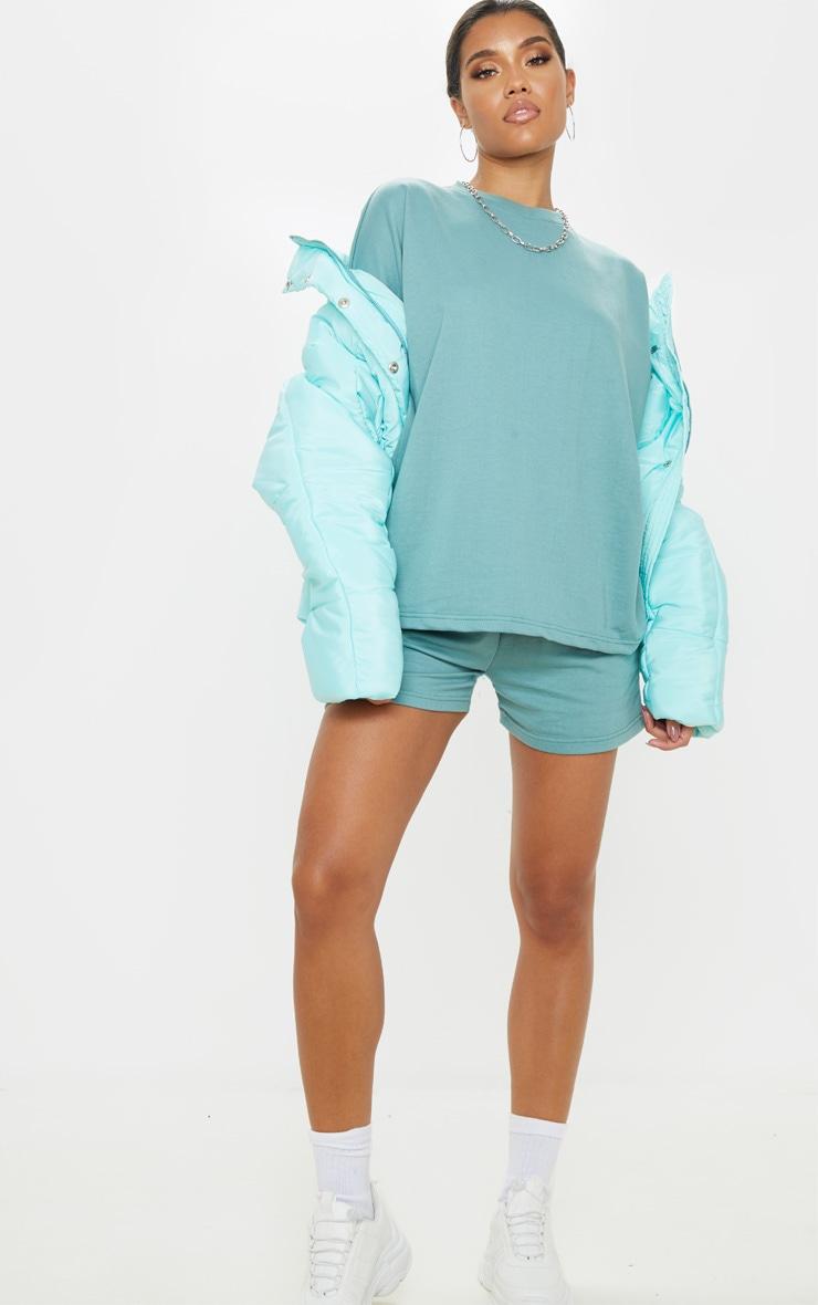 T-shirt sweat oversize turquoise cendré 4