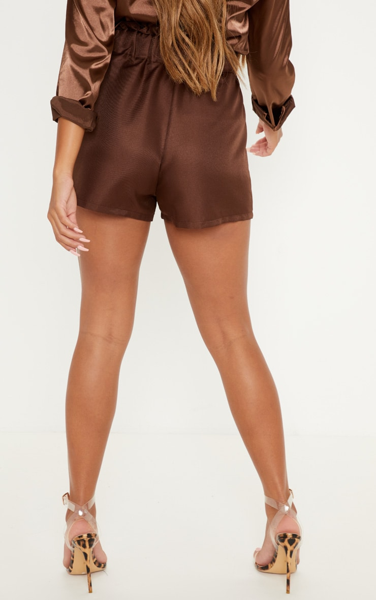 Chocolate Tailored Ruched Tie Waist Short 4