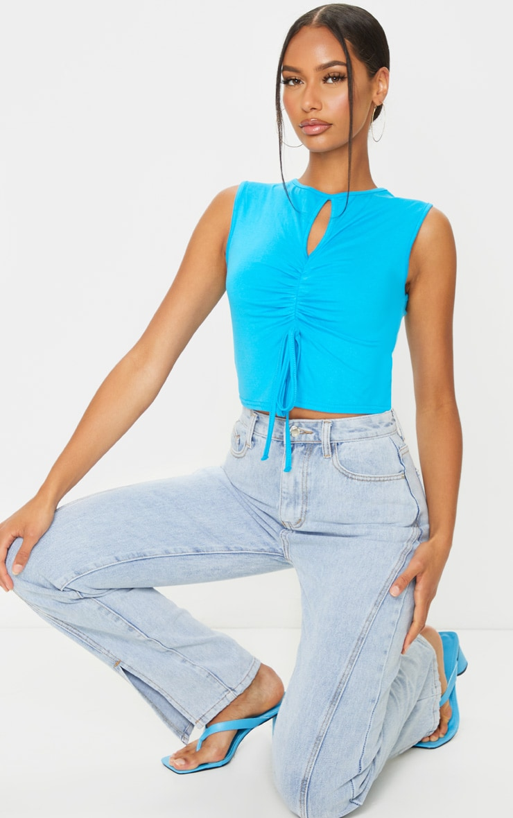 Bright Blue Jersey Keyhole Cut Out Ruched Tie Crop Top 3