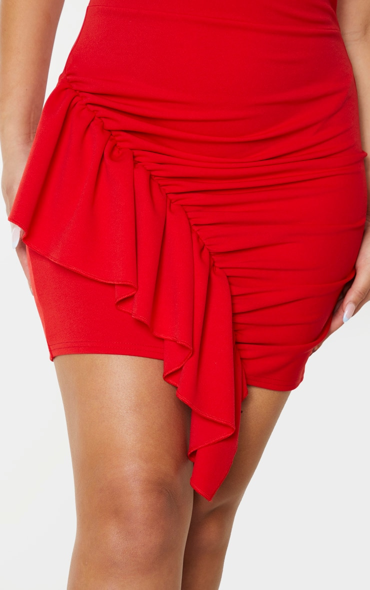 Red Strappy Ruched Frill Hem Detail Bodycon Dress 5