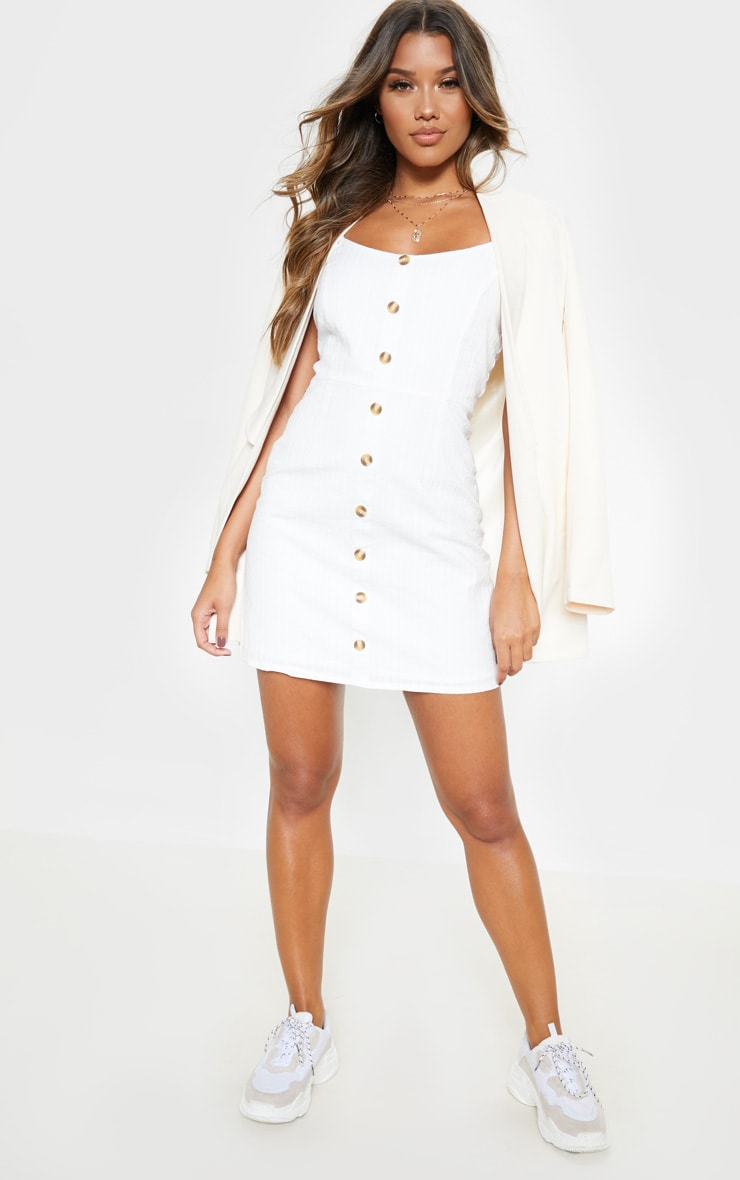 White Textured Wooden Button Tea Dress 4