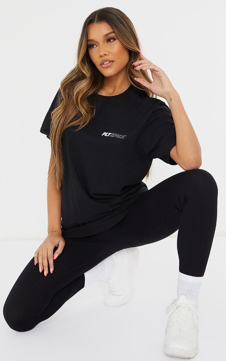 PRETTYLITTLETHING Black Sport Oversized T Shirt 3
