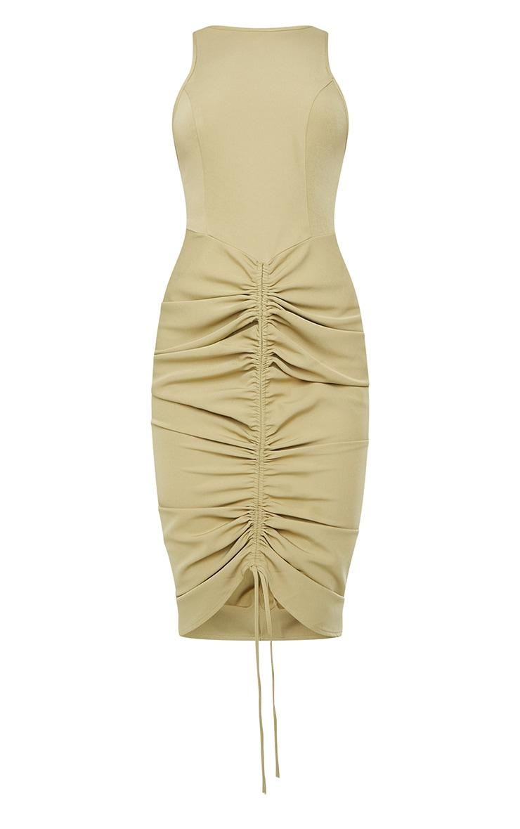 Sage Green Sleeveless Gathered Ruched Skirt Midi Dress 5