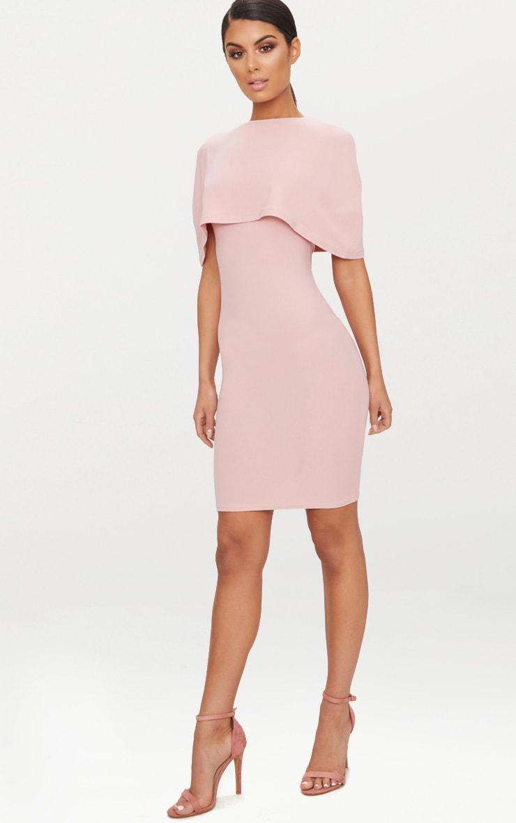 Dusty Pink Cape Detail Midi Dress 4