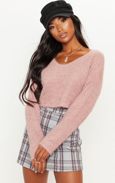 Pink Cropped Oversized Eyelash Jumper