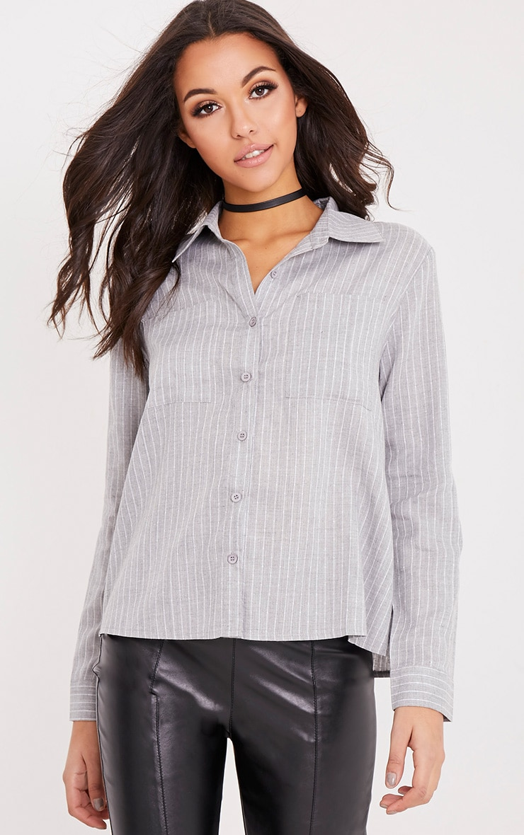 Bethany Grey Soft Stripe Shirt 1