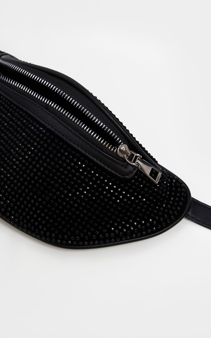 Black Diamante Studded Bum Bag 4
