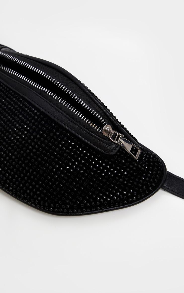 Black Diamante Studded Bum Bag  4