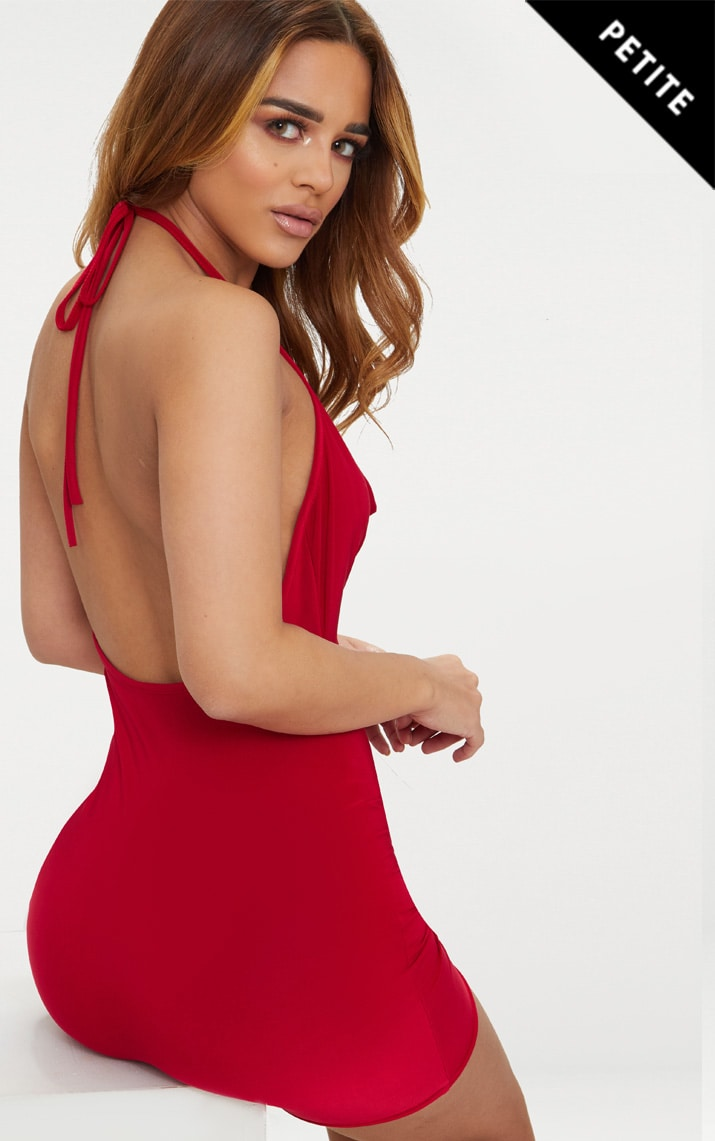 Petite Red Slinky Cowl Neck Bodycon Dress 1