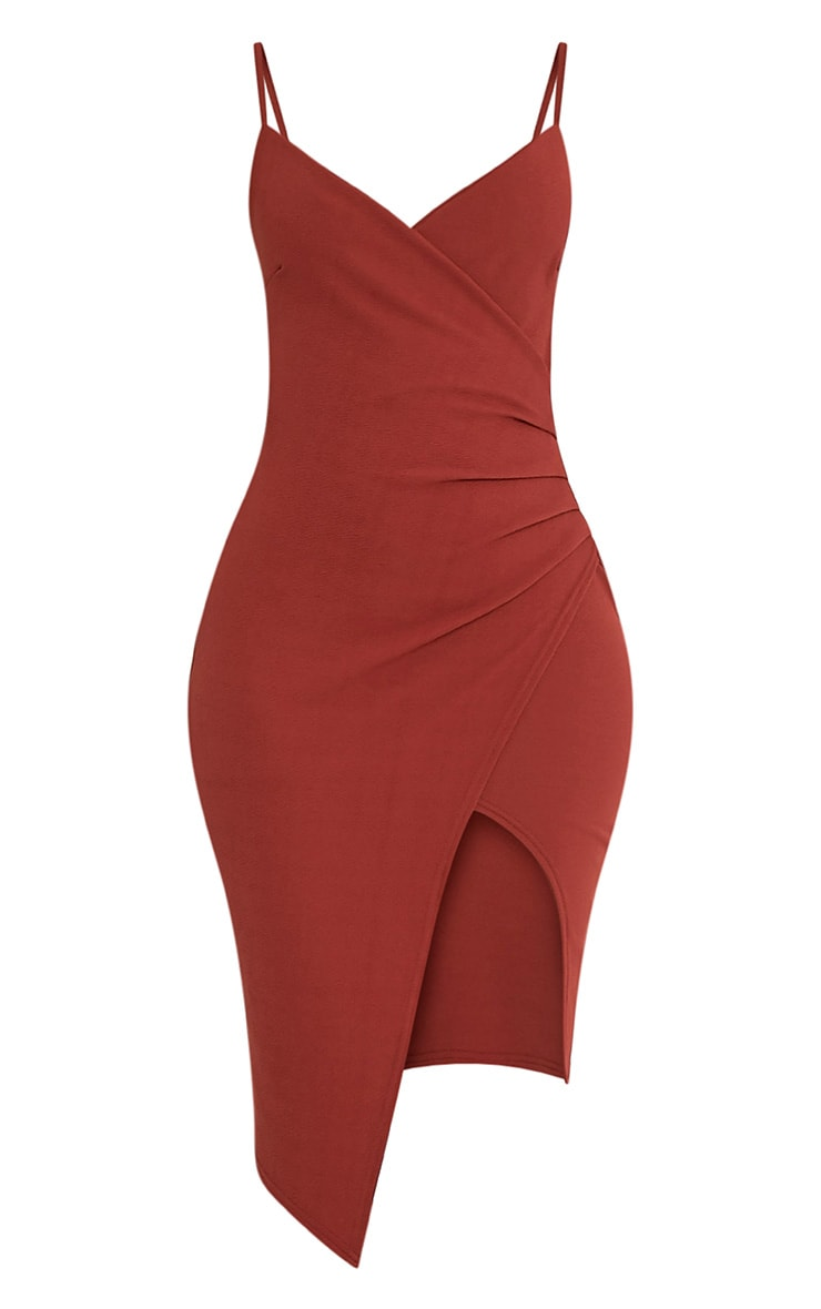 Lauriell Tobacco Wrap Front Crepe Midi Dress 2