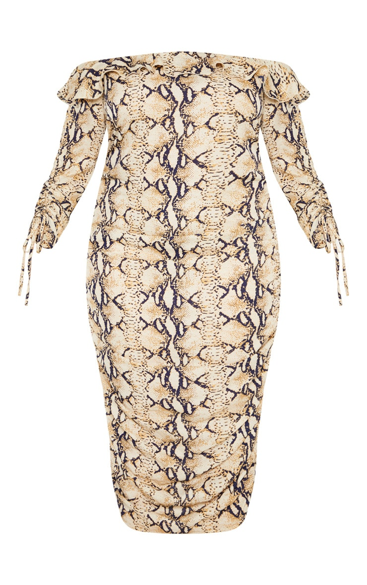Plus Taupe Snake Print Ruched Side Bardot Dress 3