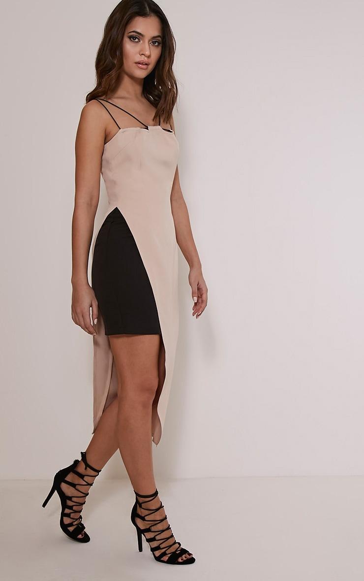 Mirielle Nude Double Strap Asymmetric Bodycon Dress 4