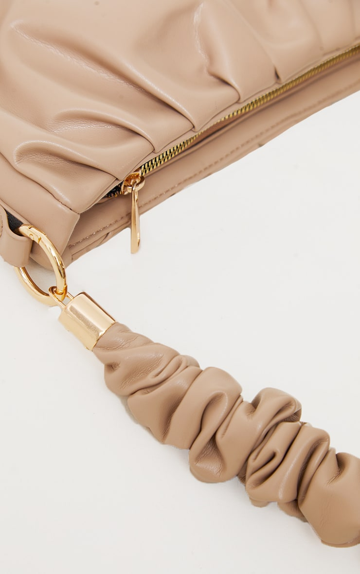 Sand Ruched Front And Handle Shoulder Bag 3