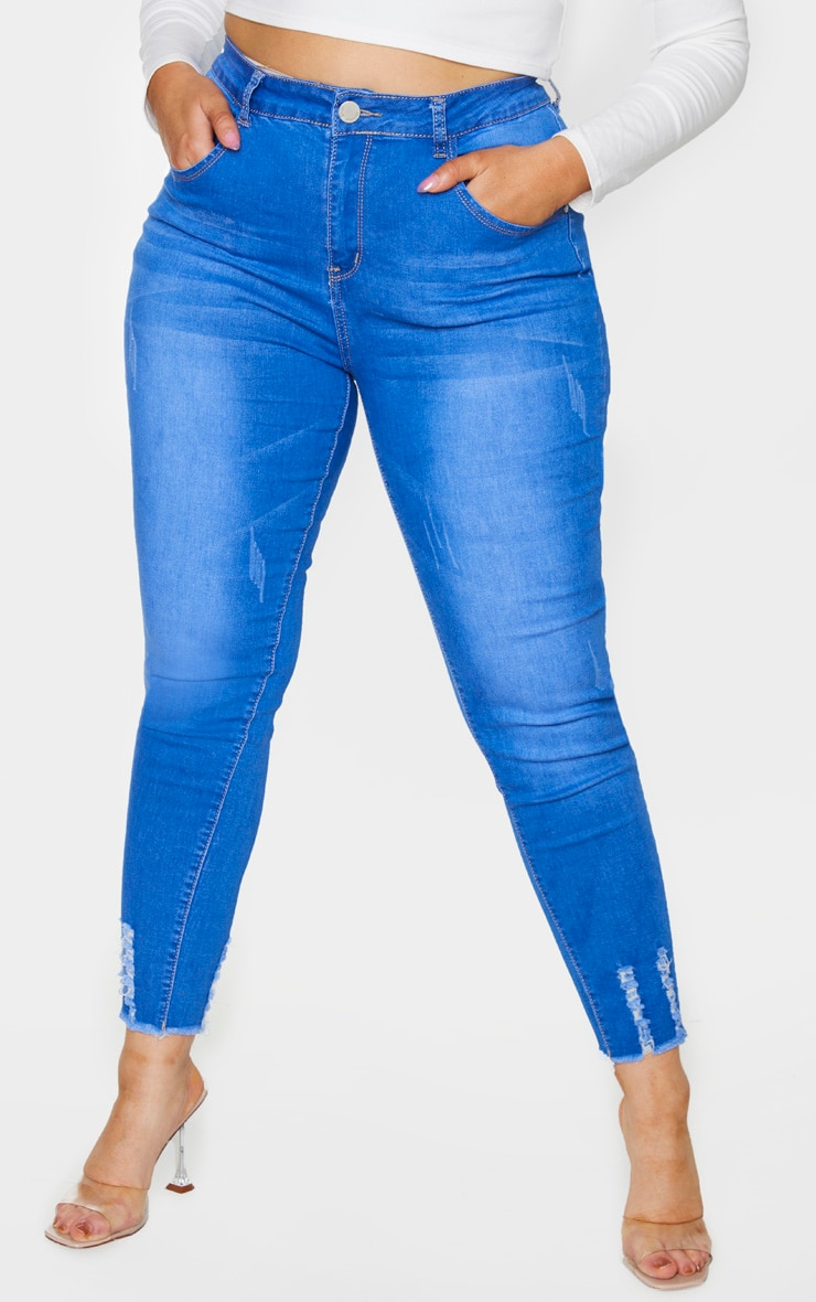 Plus Mid Blue Distressed Stretch Denim Jean 2