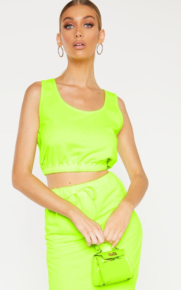 Tall Neon Lime Sweat Sleeveless Crop Top 1