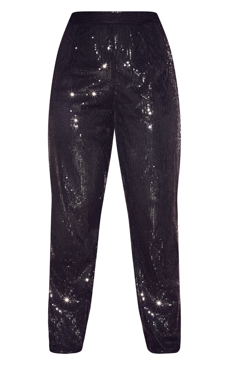 Black Sequin High Waisted Straight Leg Pants 3