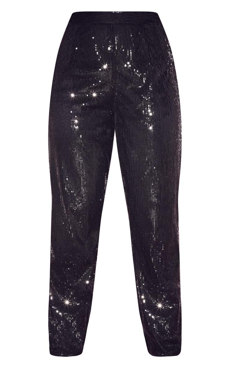 Black Sequin High Waisted Straight Leg Trouser 3
