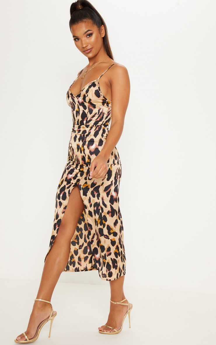 Tan Leopard Print Satin Midi Slip Dress 4