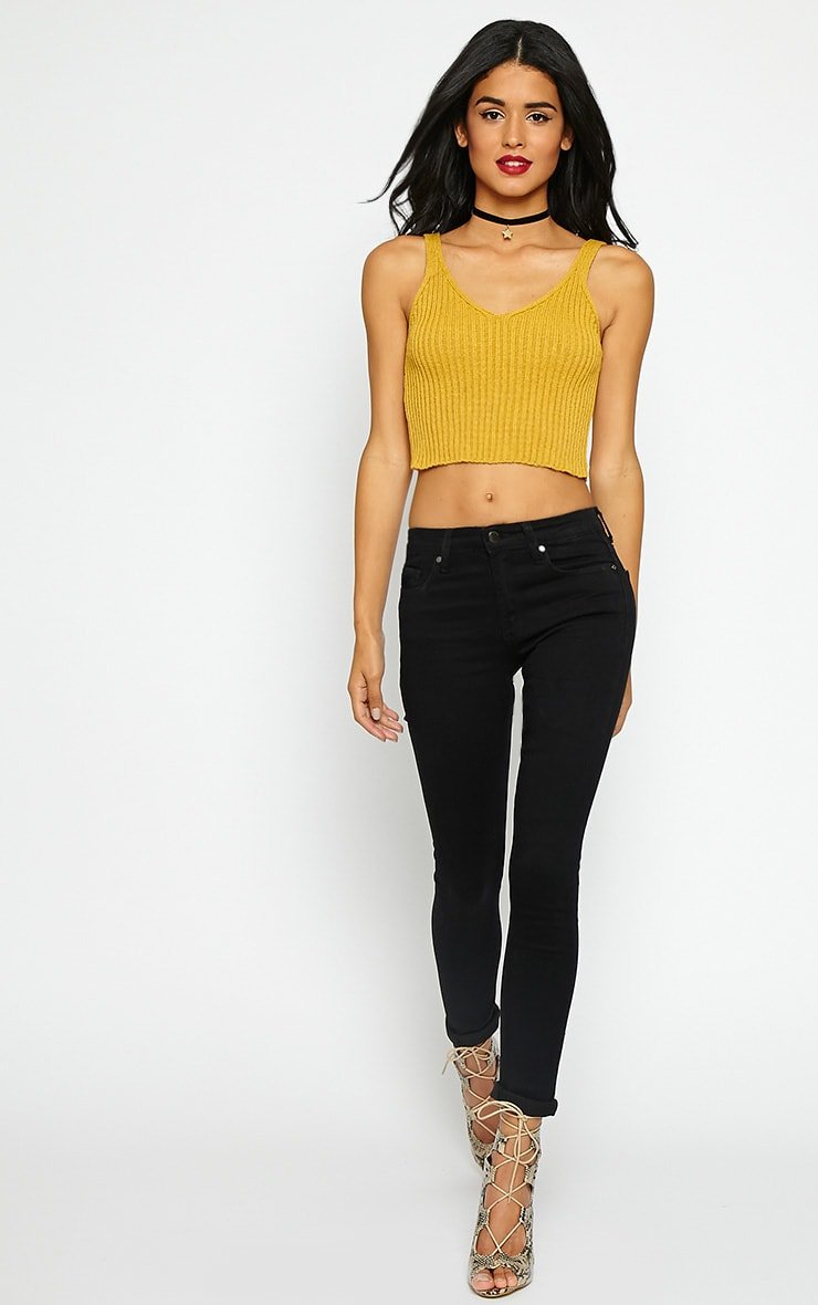 Fara Mustard Knitted Crop Top 3
