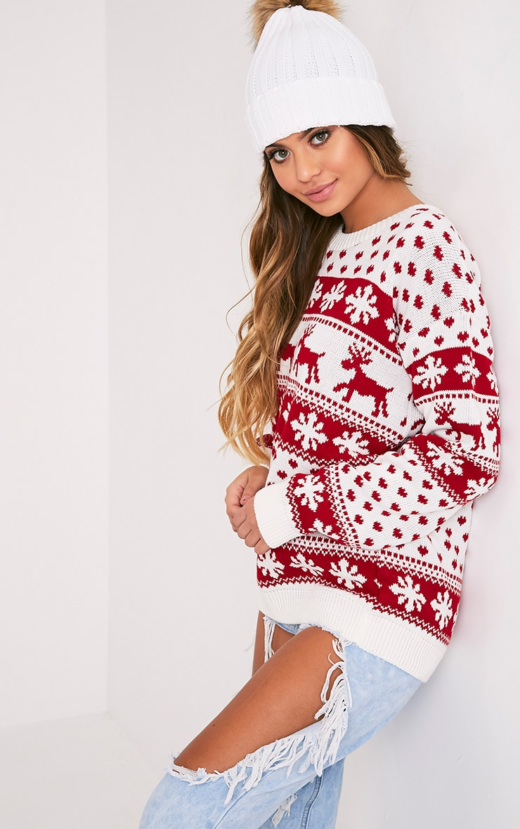 Snowflake/Reindeer White Mix Christmas Jumper 4