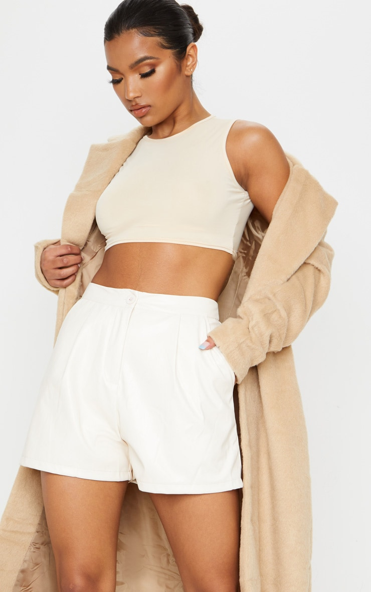 Cream Faux Leather Tailored Shorts 5