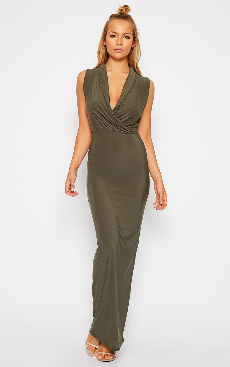 Rabia Khaki Ruched Cowl Maxi Dress 3